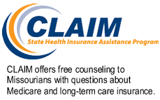 CLAIM Logo with the words CLAIM offers free counseling  to Missourians with questions about Medicare and long-term care insurance