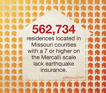outline of a house with the words 562,734 residences locaetd in Missouri counties with a 7 or higher on the Mercalli scale lack earthquate insurance.