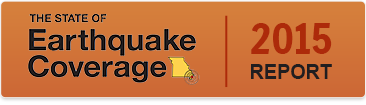 Button that says The State of Earthquake Coverage 2015 Report