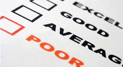 image of a report card with words excellent, good, average and poor