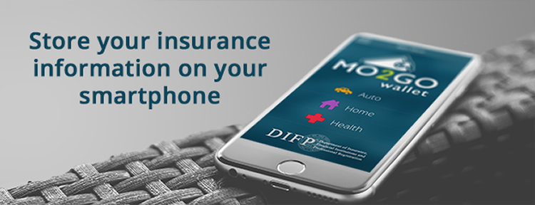 image of cellphone opened to the Mo2Go app with words Store your insurance information on your smartphone
