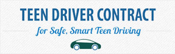 Botton with words Teen Driver Contract for safe, smart teen driving
