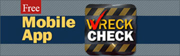 button that has the words Free Mobile App Wreck Check
